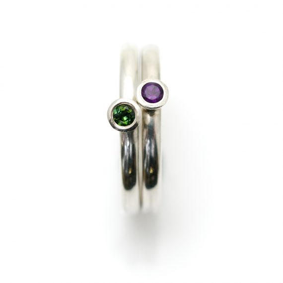 part of set of narrow silver stacking rings with Tourmaline and Amethyst