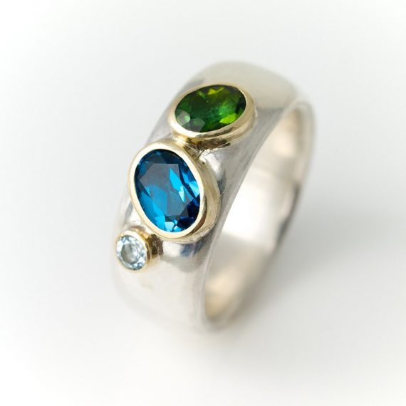 wide silver ring with tourmaline, aquamarine and topaz