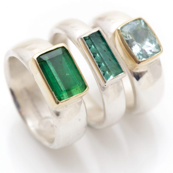 Wide silver ring with cushion shaped stone tourmaline and Aquamarine