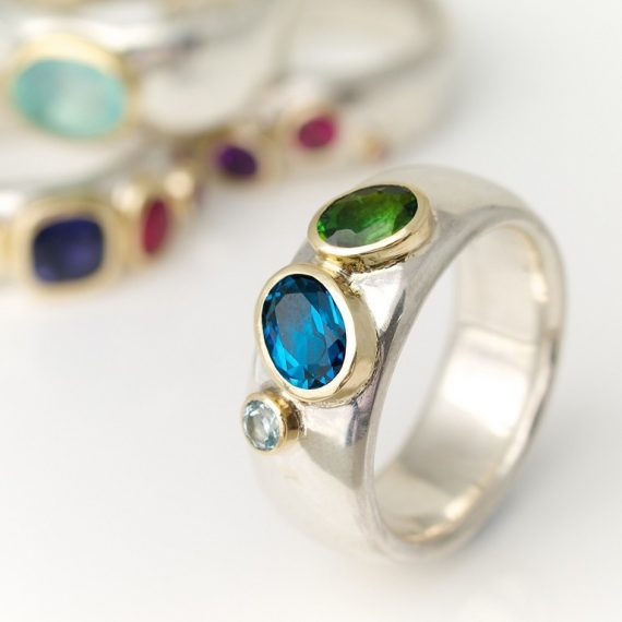 Wide silver rings with mixed stones