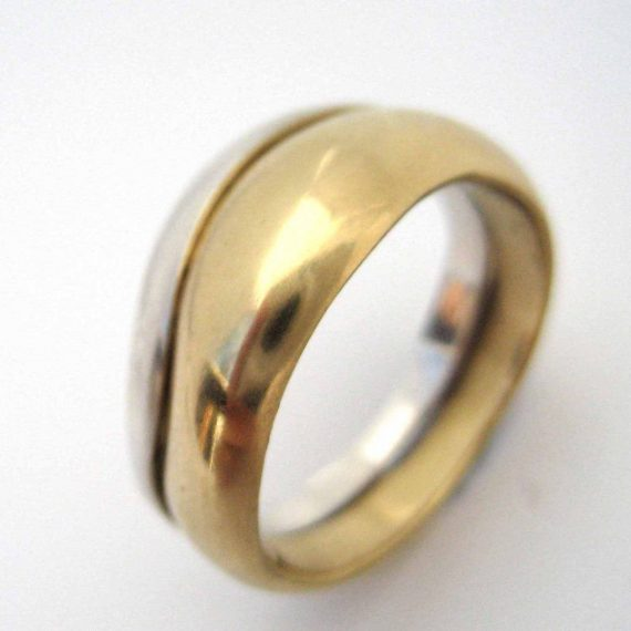 two coloured 18ct gold wave ring