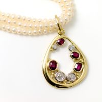 Diamond and Ruby 18ct gold pendant