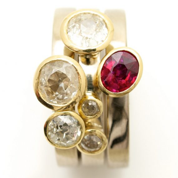 18ct white and yellow gold stacking rings with Diamonds and a Ruby