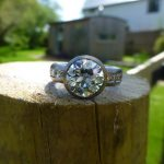 Commission piece, 2ct diamond, with a bead and channel set diamonds on each side