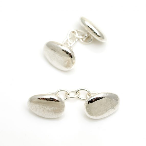 silver pebble cufflinks with chain links