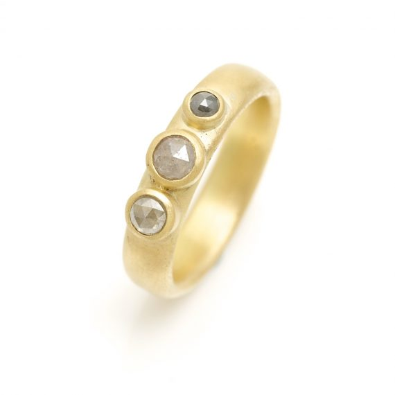 matt 18ct gold ring with grey rosecut diamonds