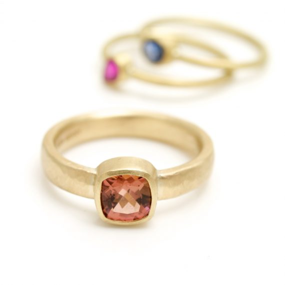 Cushion Pink Tourmaline 9ct gold hammered ring