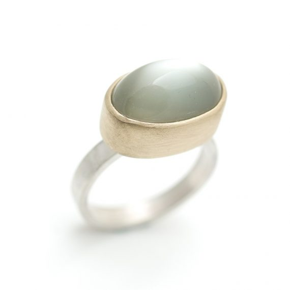 Oval green moonstone 15mm ring set in gold