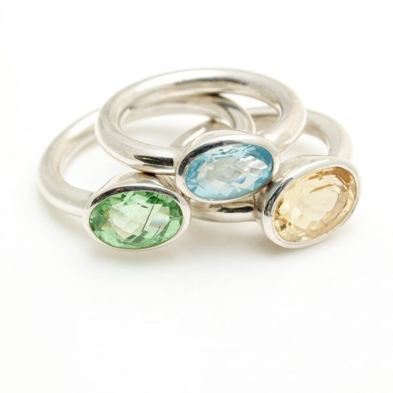 Beryl, Peridot and Aquamarine oval landscape rings