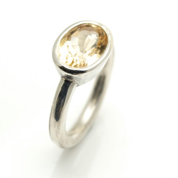 yellow beryl oval landscape silver ring