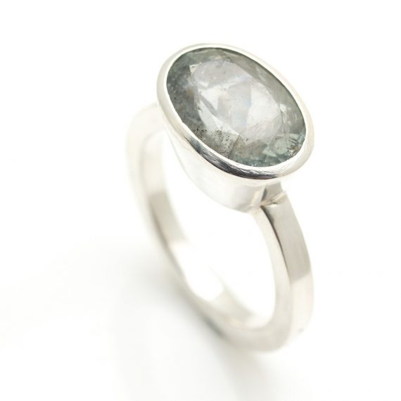 Silver ring with grey oval Tourmaline landscape