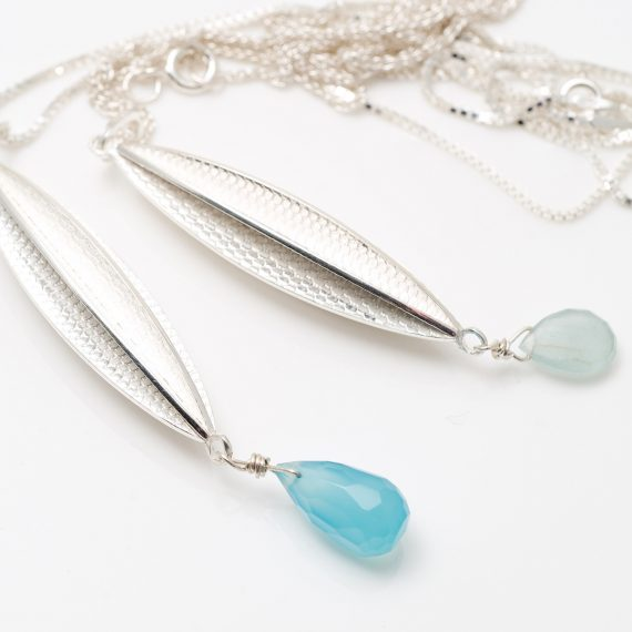 silver new Long pod pendant aquamarine and Chalcedony