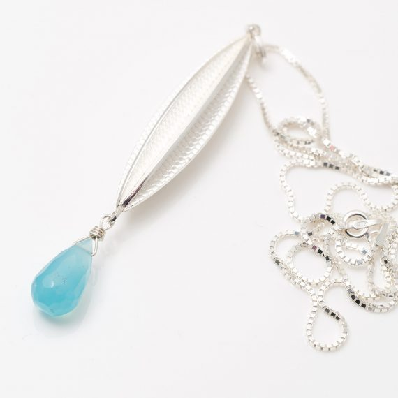 silver new Long pod pendant Chalcedony