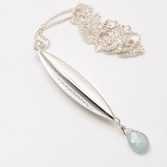 silver new Long pod pendant Aquarmarine