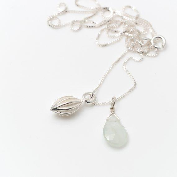 Tiny silver pod drop necklace with aquamarine drop