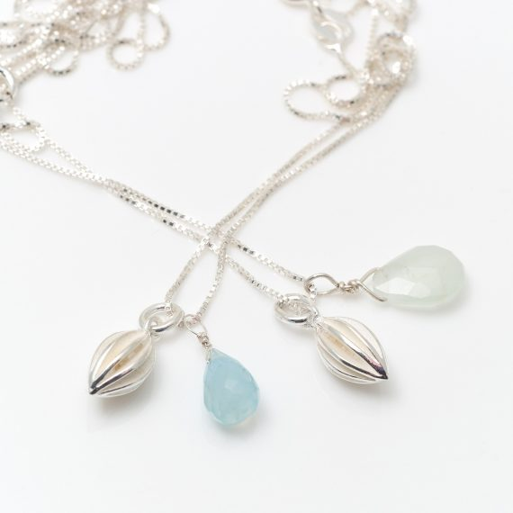 Tiny silver pod drop necklace with chalcedony and aquamarine