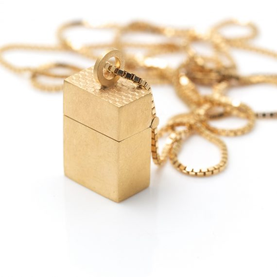 micro 18ct gold wearable box pendants