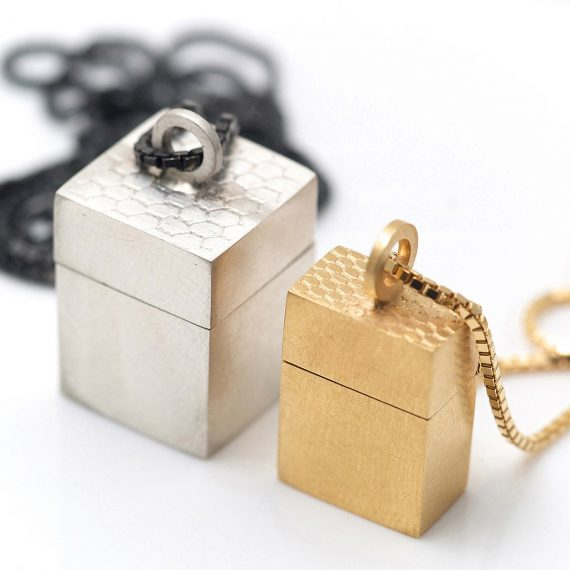 micro silver and 18ct gold wearable box pendants