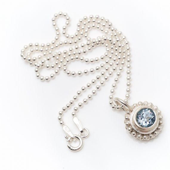Simple beaded ring pendant with semi precious stone