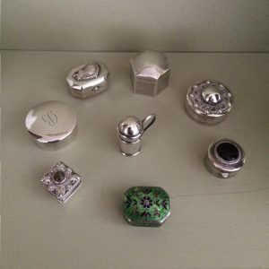 collection of silver boxes