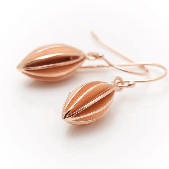 Rose gold vermeil pod earrings
