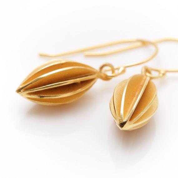 Gold Vermeil pod drop earrings