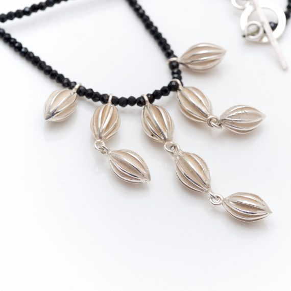 waterfall pod necklace with spinel