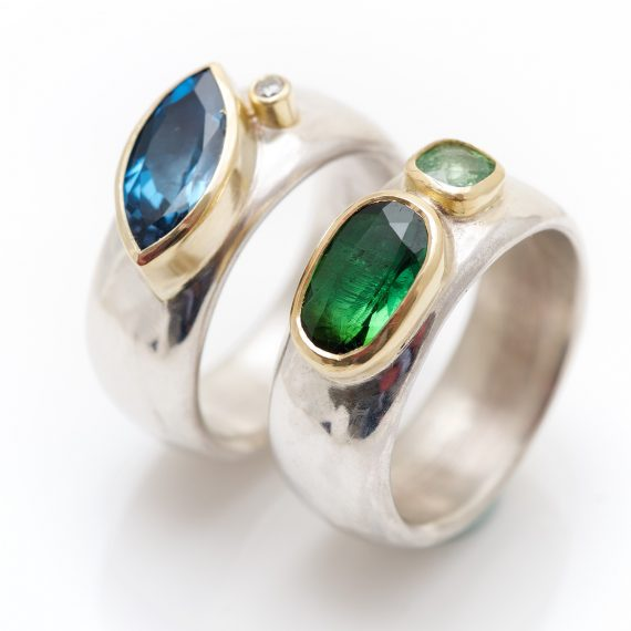 Contemporary wide silver rings with semi precious stones
