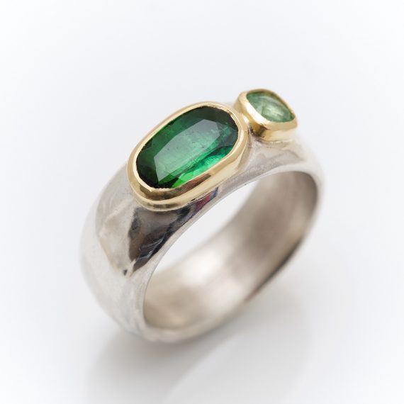 Chunky silver ring with Tourmaline and Tsavorite Garnet