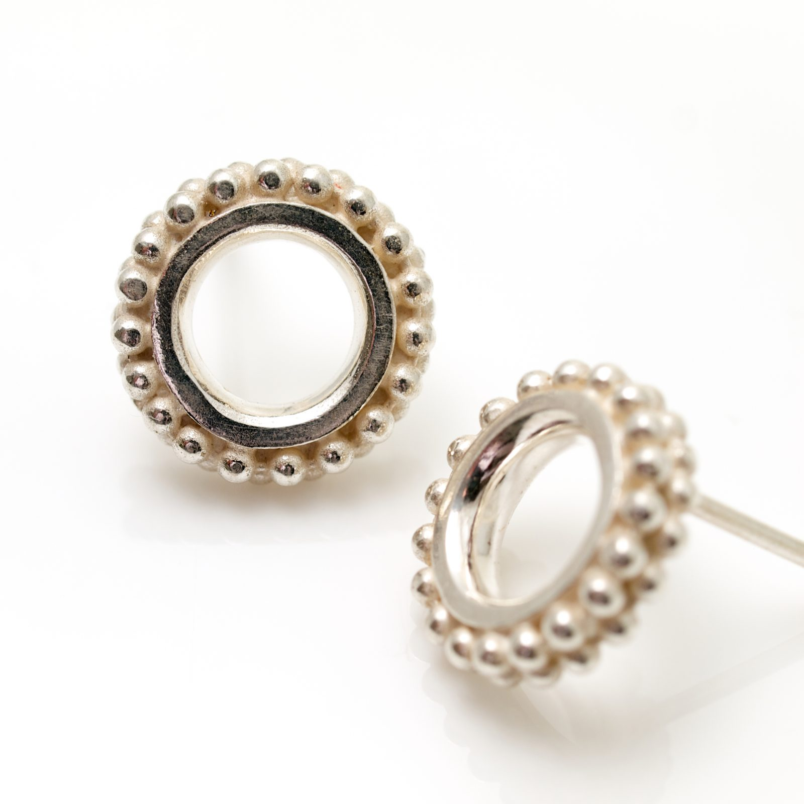 silver Beaded Ring earring