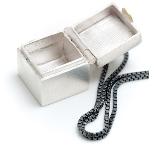 Tiny hinged silver box pendant
