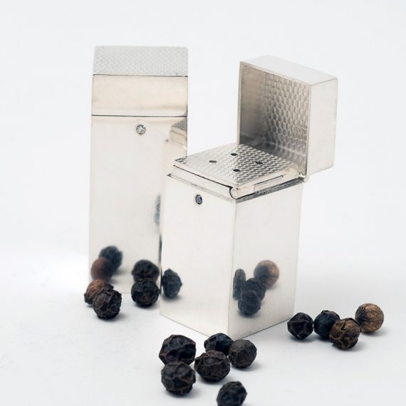 salt and pepper silver box cruet set