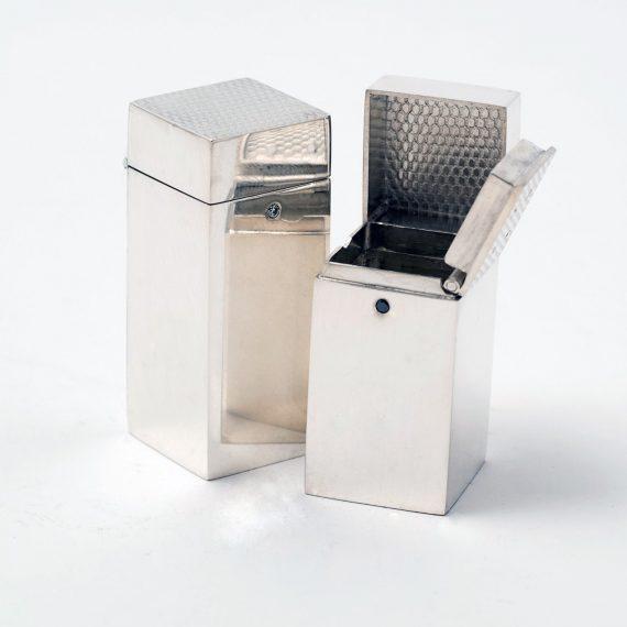 Silver box cruet set