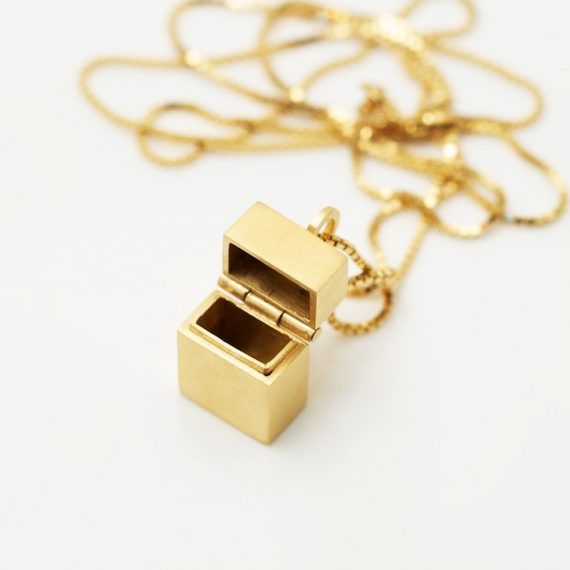 gold vermeil box pendant