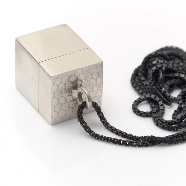 silver tiny box pendant