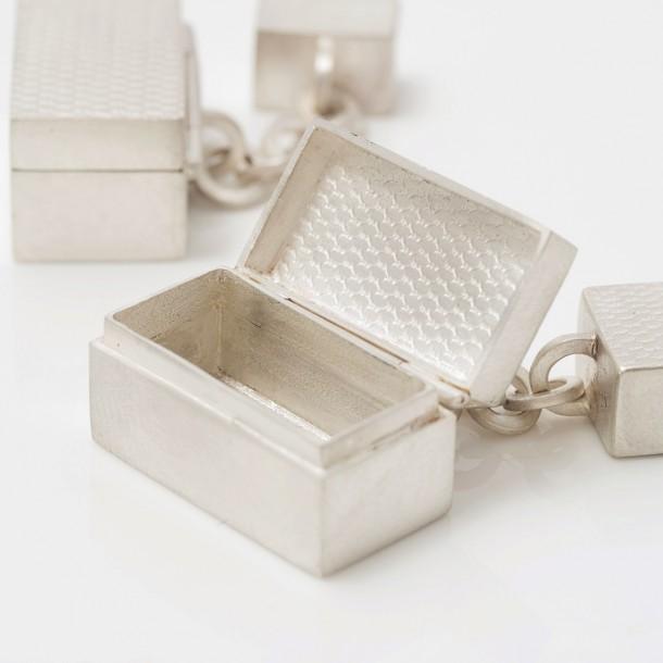 Silver tiny hinged box cufflinks