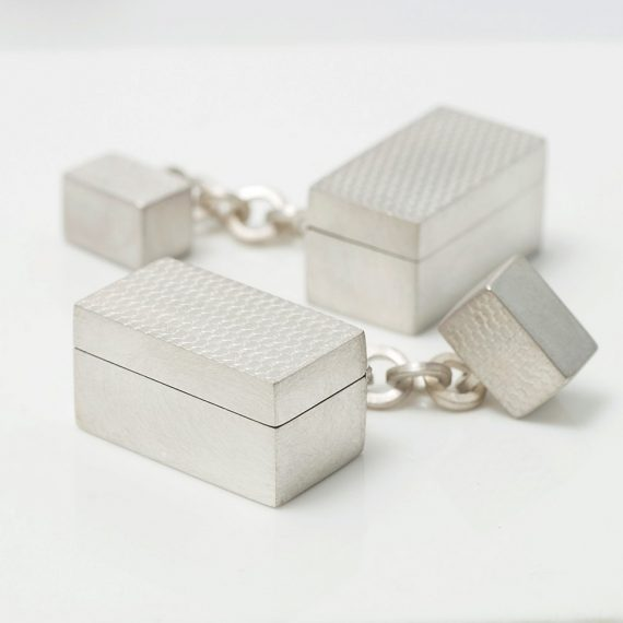 Silver micro box cufflinks with chain fitting