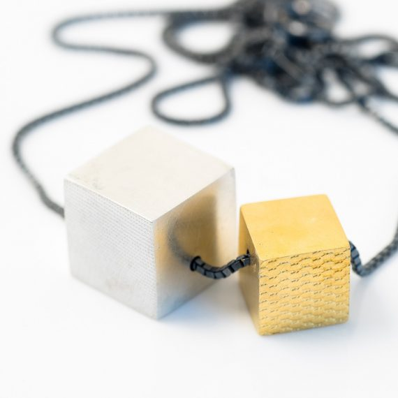 Large gold and silver cube necklace