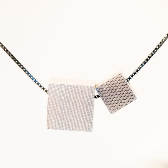 small silver cube necklace