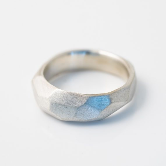 silver narrow chunky geometric ring from the flint collection