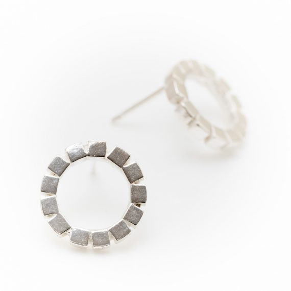 silver mosaic cube ring earrings