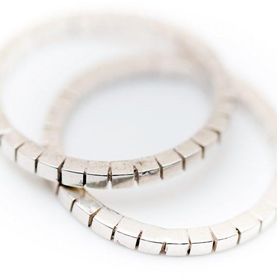 silver cube mosaic ring