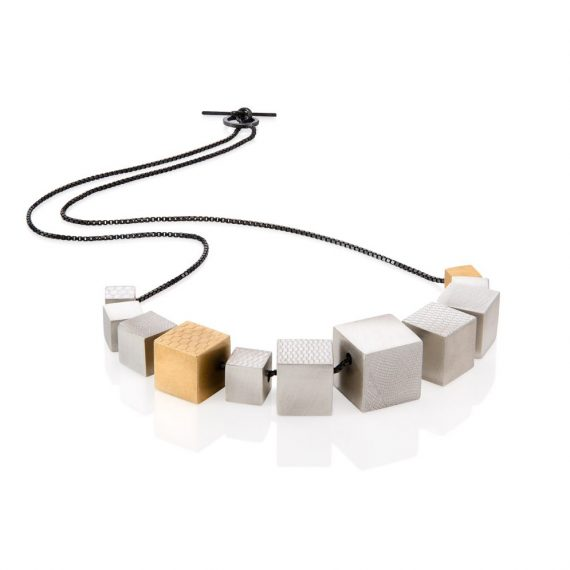 Cube necklace with gold vermeil cube