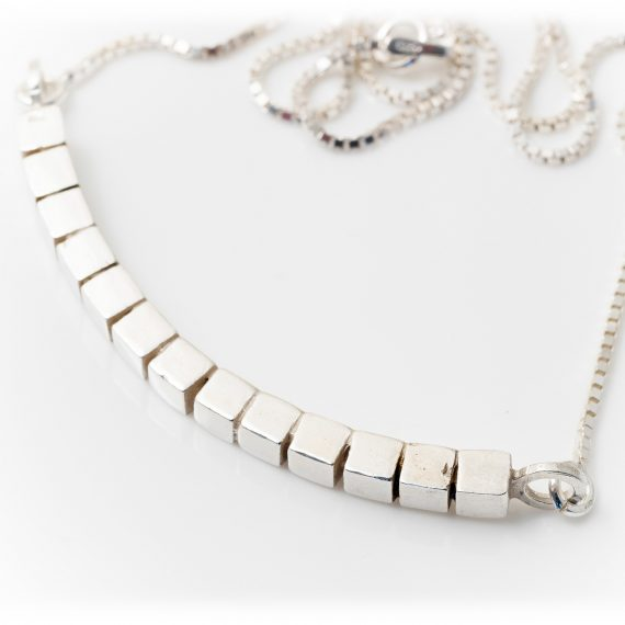 silver short curved cube necklace