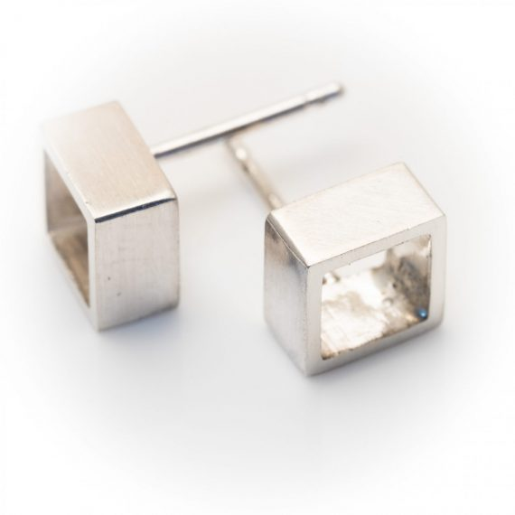 Silver open square stud earring