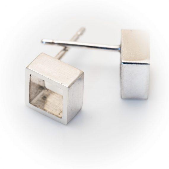Silver open square stud earring