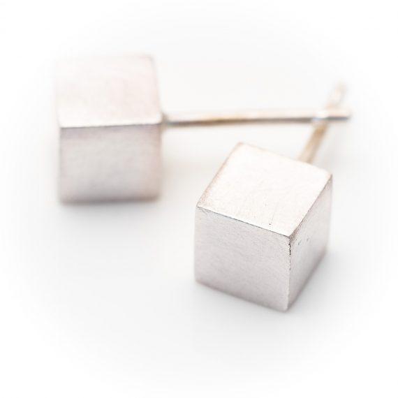 silver cube stud earrings