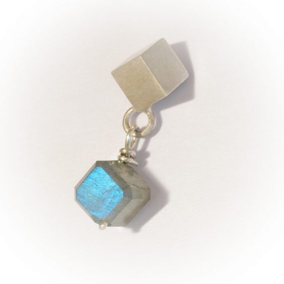 silver cube stud with square labradorite