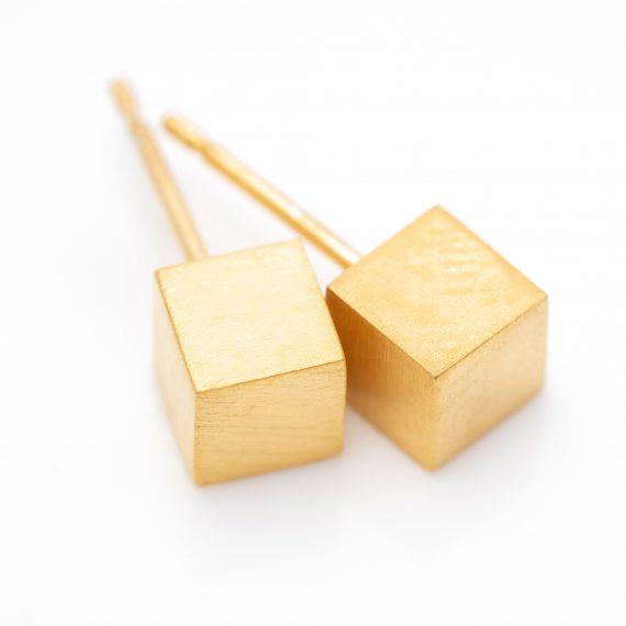 Gold vermeil cube studs