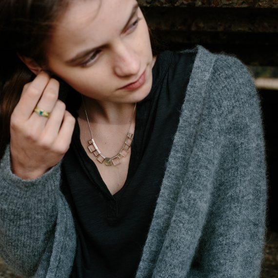 open square necklace with prehnite